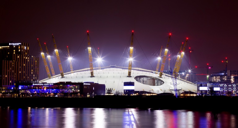 night image of the O2 in London